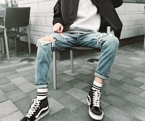 black jacket, black shoes, and ripped jeans image