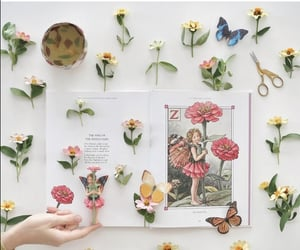 book, butterflies, and cup of tea image