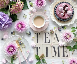 cake, cup of tea, and tea image