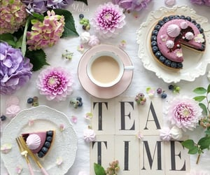 cake, cup of tea, and flowers image