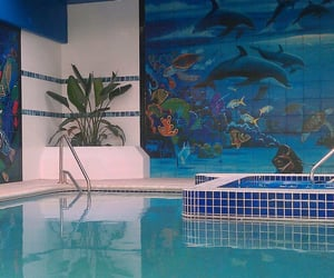 blue, dolphins, and interior design image