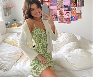 Green floral dress with cardigan