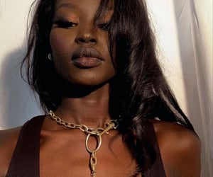black women, gold chain, and lips image