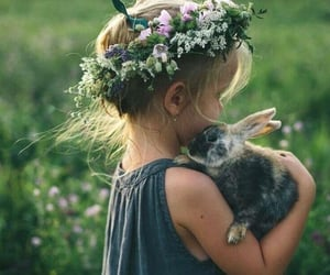 child, flowers, and rabbit image