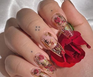 nails, bee, and flowers image