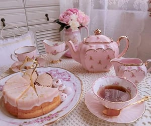 tea, pink, and food image
