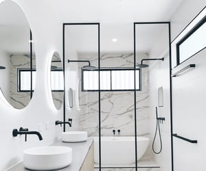 bathrooms, black, and interior design image