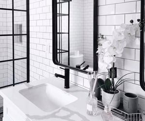 bathrooms, flowers, and white image