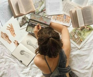 bed, reading, and drawing on bed image