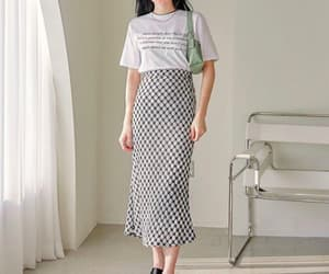 business casual, long skirt, and minimal image