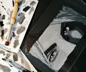 acrylic, art, and black and white image