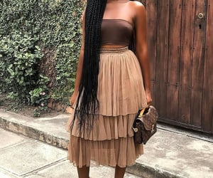 black women, long hair, and strapless image