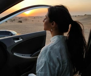 car, desert, and ponytail image