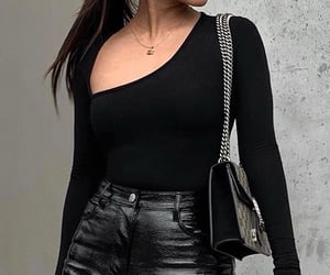 black top, gold jewelry, and long sleeve top image