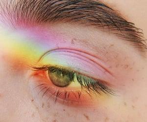 eyebrows, eyes, and rainbow image