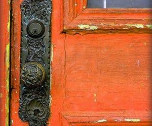 door, pink, and orange image