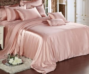 bedroom, rose gold, and sheets image