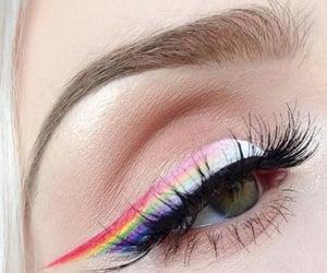 eye, rainbow, and makeup image
