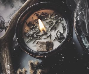 witch, candle, and herbs image