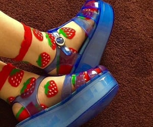 sandals, strawberries, and shoes image