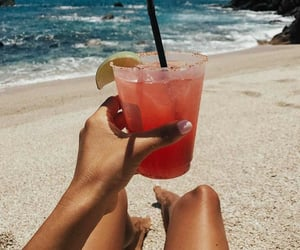 drink, summer, and beach image