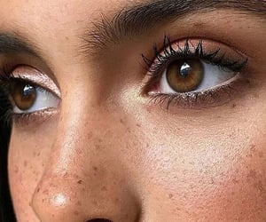 eyes, makeup, and freckles image
