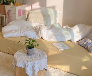 bed, cosy, and plant image
