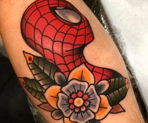 colour, flower, and spider-man image