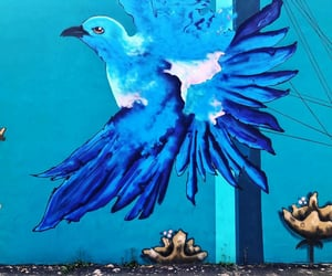 blue, mural, and street art image
