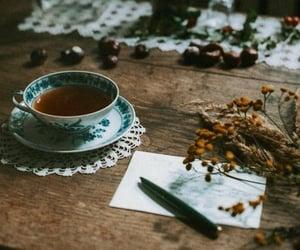 tea, coffee, and flowers image