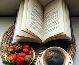 books, coffe, and strawberrys image