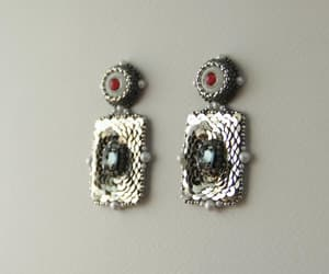 boho, costume jewelry, and silver earrings image