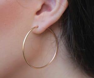 earrings, gold, and hoop image