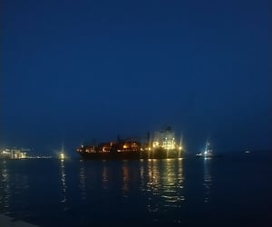 Darkness, sea, and ship image