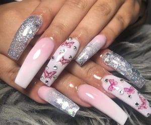butterfly, light pink, and glitter nails image