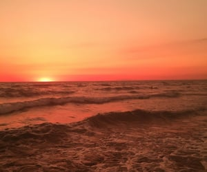 sunset, orange, and beach image