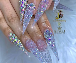 crystals, glitter, and long nails image