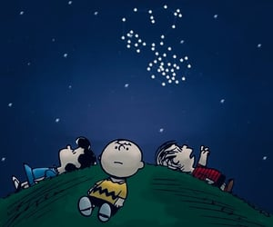 snoopy, stars, and charlie brown image
