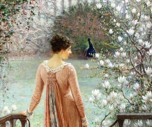 art, lady, and flowers image