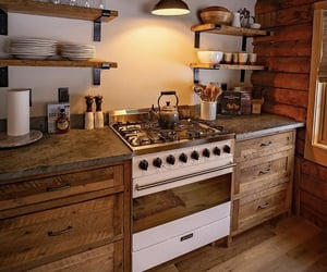 cabin, kitchen, and wood image