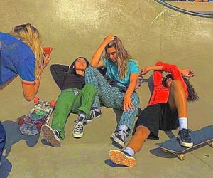 skateboard, friends, and grunge image