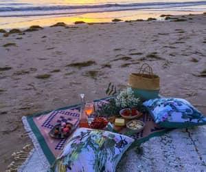 beach, mood, and picnic image