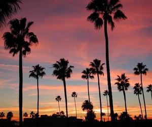 sunset, california, and beach image