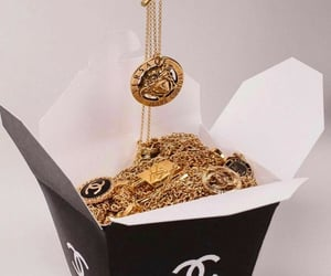 chanel, gold, and Versace image