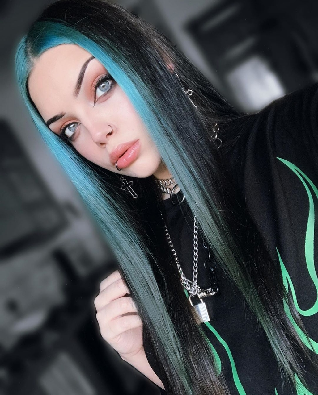 blue eyes, makeup, and blue hair image