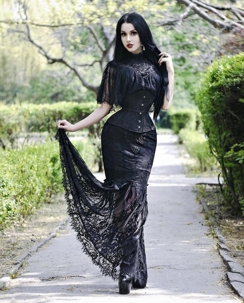 black hair, black corset, and goth makeup image
