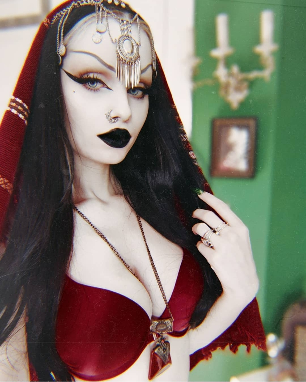 black hair, burgundy, and instagram image
