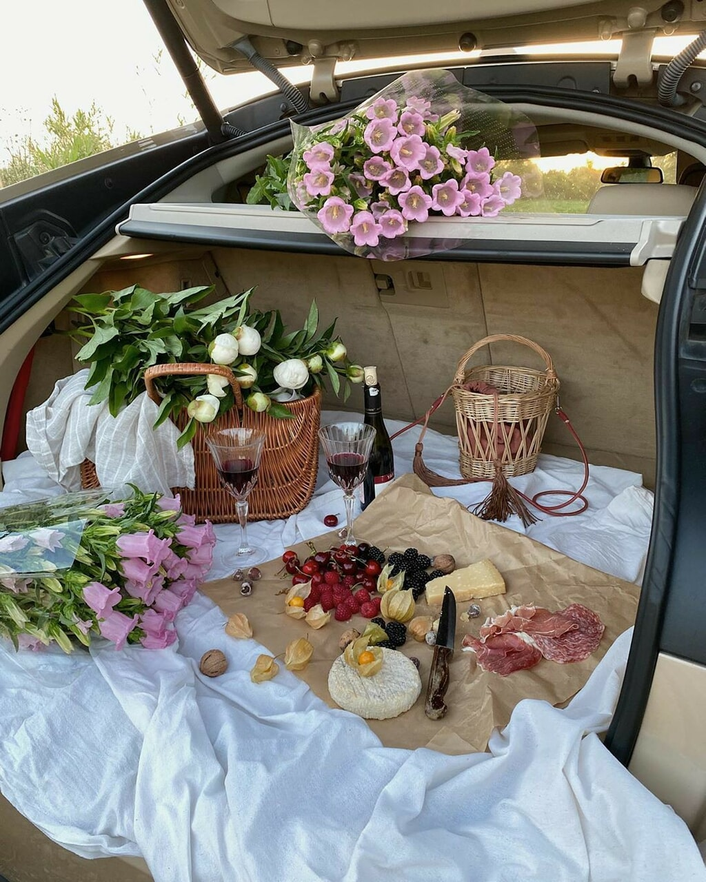 flowers, food, and picnic image