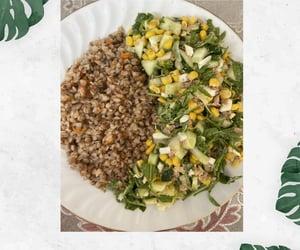 salad, buckwheat, and egg tuna corn rucola image