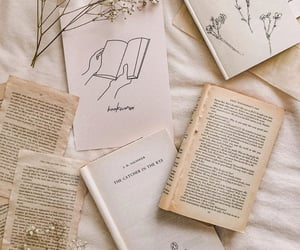 book, flowers, and happy image